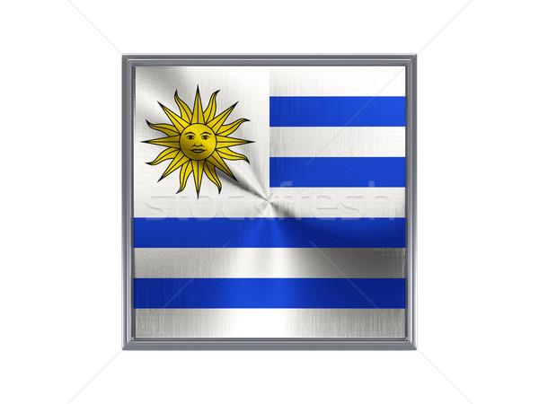 Praça metal botão bandeira Uruguai isolado Foto stock © MikhailMishchenko