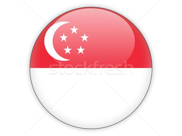 Icon vlag Singapore geïsoleerd witte reizen Stockfoto © MikhailMishchenko