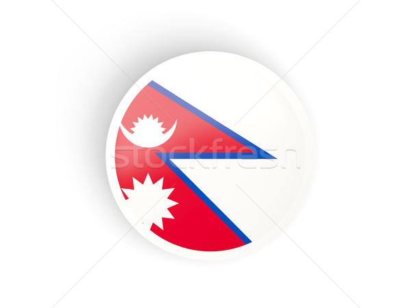 Round sticker with flag of nepal Stock photo © MikhailMishchenko