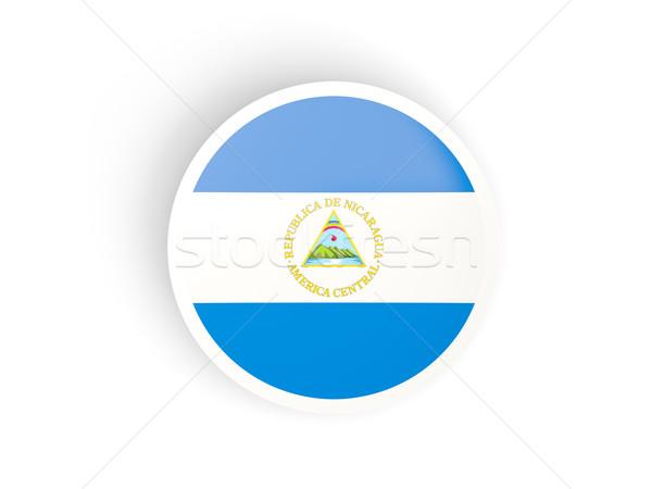 Adesivo bandeira Nicarágua isolado branco viajar Foto stock © MikhailMishchenko