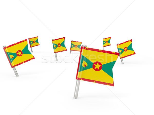 Vierkante vlag Grenada geïsoleerd witte land Stockfoto © MikhailMishchenko