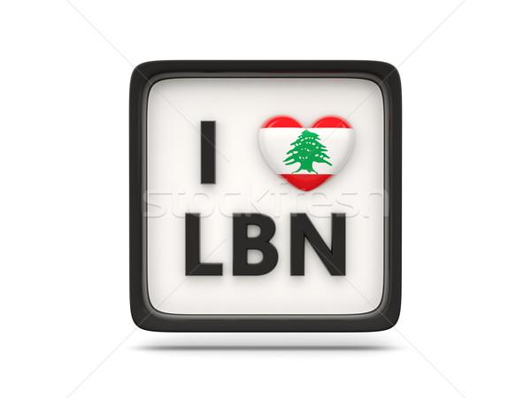 ストックフォト: 愛 · レバノン · にログイン · 孤立した · 白 · フラグ
