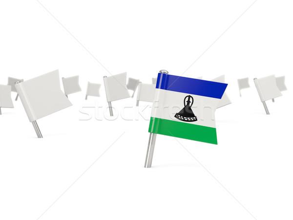 Placu pin banderą Lesotho odizolowany biały Zdjęcia stock © MikhailMishchenko