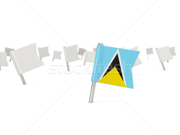 Square pin with flag of saint lucia Stock photo © MikhailMishchenko