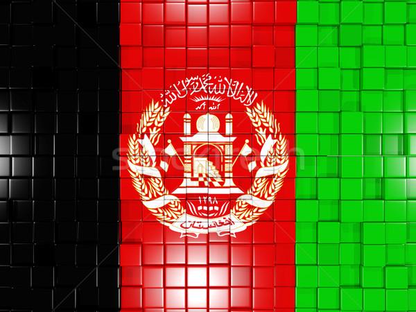 Kare bayrak Afganistan 3D mozaik Stok fotoğraf © MikhailMishchenko