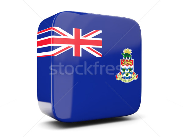 Square icon with flag of cayman islands square. 3D illustration Stock photo © MikhailMishchenko