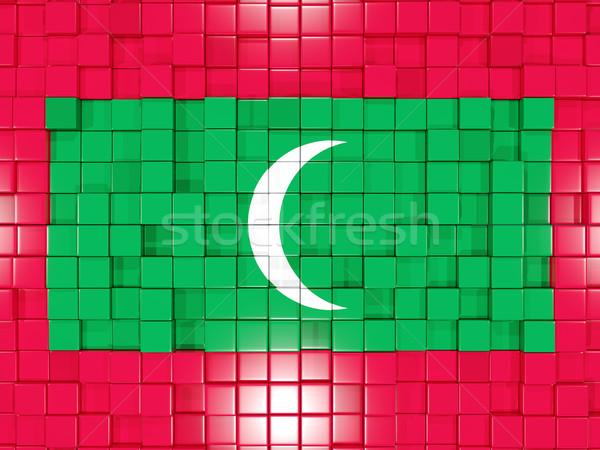 Placu banderą Malediwy 3d ilustracji mozaiki Zdjęcia stock © MikhailMishchenko