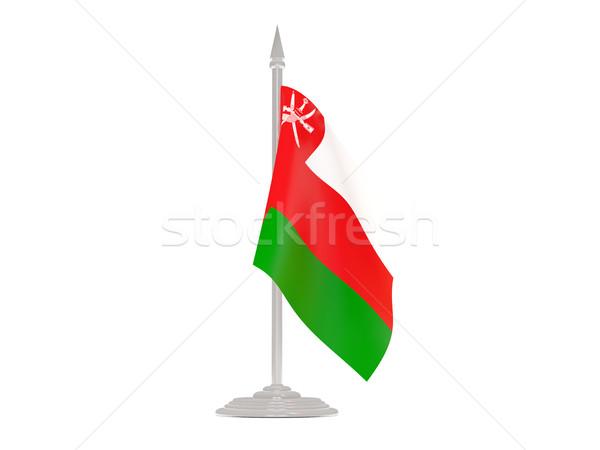 Bandera Omán asta de bandera 3d aislado blanco Foto stock © MikhailMishchenko