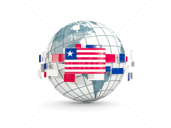 Globe with flag of liberia isolated on white Stock photo © MikhailMishchenko