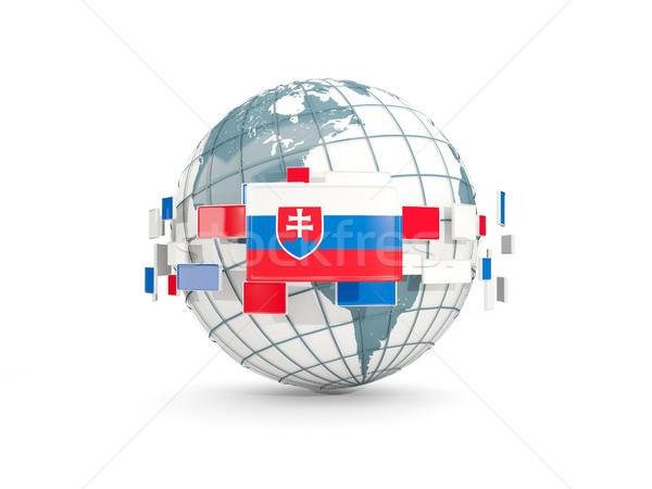 Globe with flag of slovakia isolated on white Stock photo © MikhailMishchenko