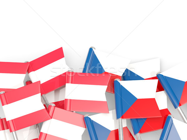 Flag pins of Austria and Czech isolated on white Stock photo © MikhailMishchenko
