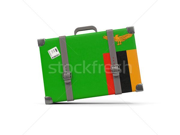 Bagaglio bandiera Zambia valigia isolato bianco Foto d'archivio © MikhailMishchenko