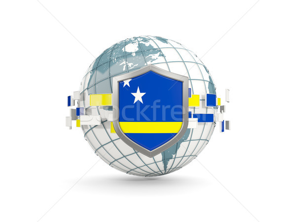 Globe and shield with flag of curacao isolated on white Stock photo © MikhailMishchenko