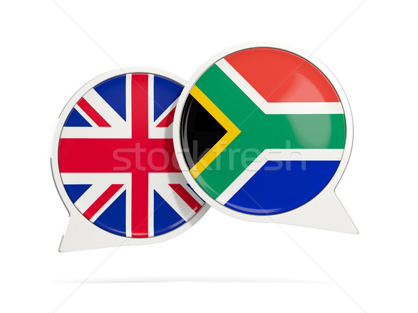 Chat bubbles of UK and South Africa isolated on white Stock photo © MikhailMishchenko