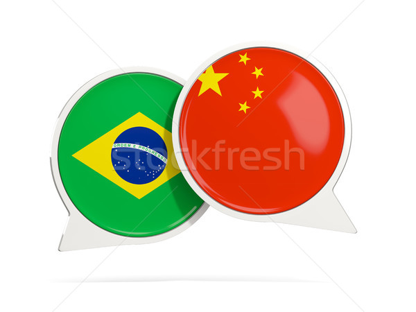 Chat bubbles of Brazil and China isolated on white Stock photo © MikhailMishchenko
