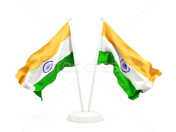 Iki bayraklar Hindistan yalıtılmış beyaz Stok fotoğraf © MikhailMishchenko