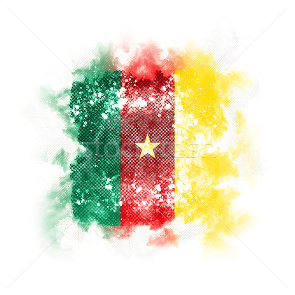Vierkante grunge vlag Kameroen 3d illustration retro Stockfoto © MikhailMishchenko