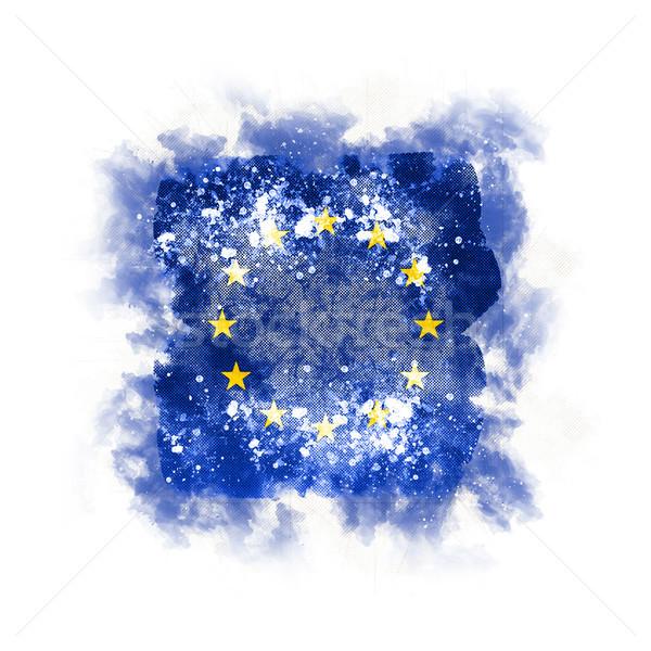 Placu grunge banderą europejski Unii 3d ilustracji Zdjęcia stock © MikhailMishchenko