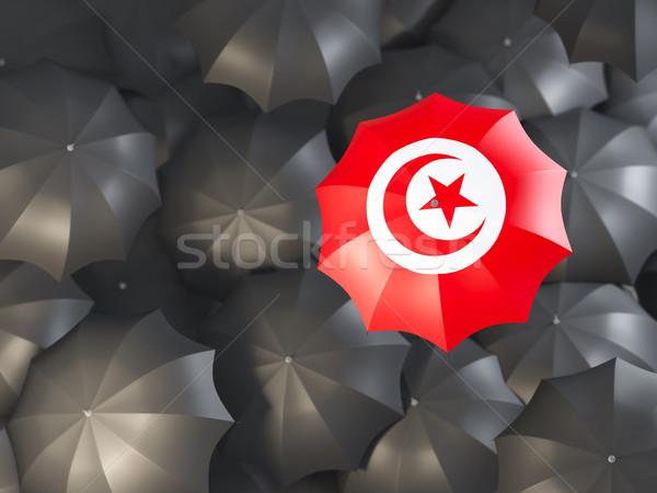 şemsiye bayrak Tunus üst siyah Stok fotoğraf © MikhailMishchenko