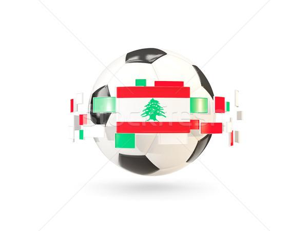 Futballabda vonal zászlók zászló Libanon lebeg Stock fotó © MikhailMishchenko