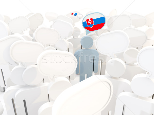 Homem bandeira Eslováquia multidão ilustração 3d assinar Foto stock © MikhailMishchenko