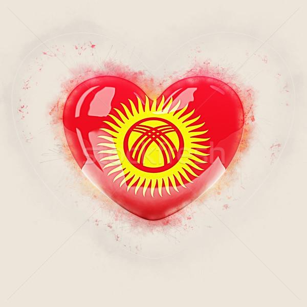 Kalp bayrak Kırgızistan grunge 3d illustration seyahat Stok fotoğraf © MikhailMishchenko