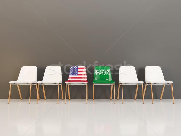 Cadeiras bandeira EUA Arábia Saudita ilustração 3d Foto stock © MikhailMishchenko