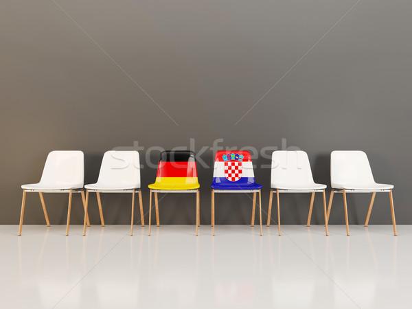 Székek zászló Németország Horvátország csetepaté 3d illusztráció Stock fotó © MikhailMishchenko