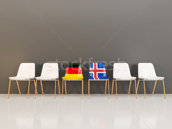 Chairs with flag of Germany and iceland in a row Stock photo © MikhailMishchenko