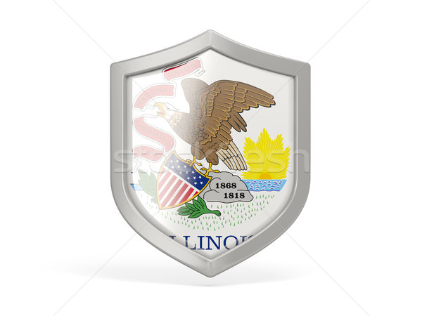 Shield icon with flag of illinois. United states local flags Stock photo © MikhailMishchenko