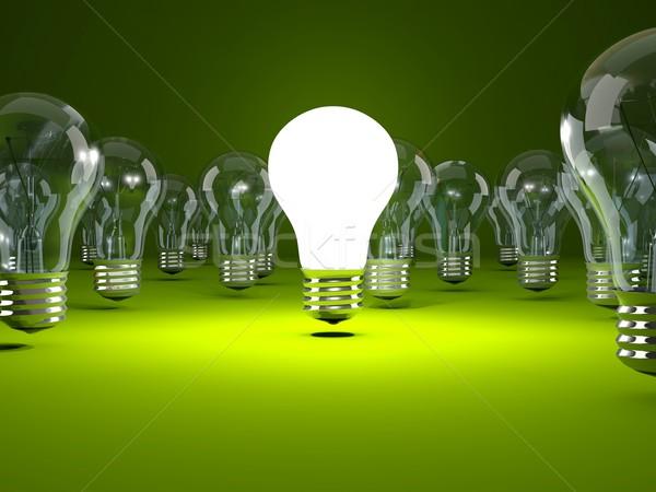 żarówka zielone technologii energii elektryczne żarówka Zdjęcia stock © MikhailMishchenko