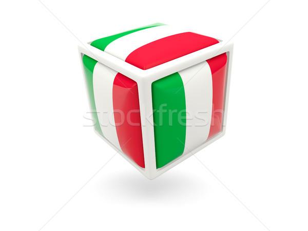 Bayrak İtalya küp ikon yalıtılmış beyaz Stok fotoğraf © MikhailMishchenko