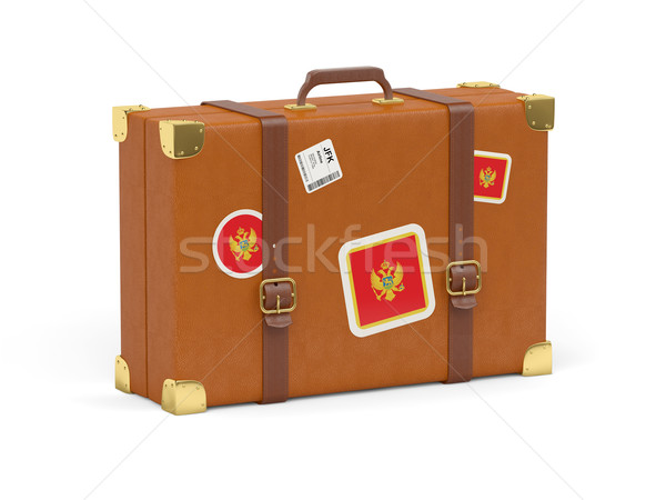 スーツケース フラグ モンテネグロ 旅行 孤立した 白 ストックフォト © MikhailMishchenko