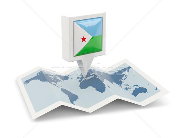 квадратный Pin флаг Джибути карта путешествия Сток-фото © MikhailMishchenko