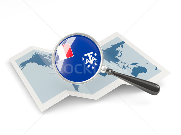 Magnified flag of french southern territories with map Stock photo © MikhailMishchenko
