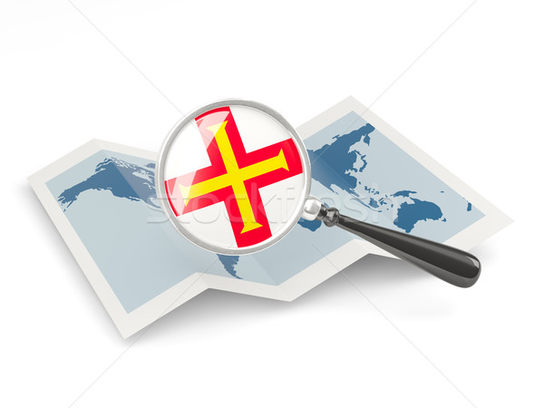 Magnified flag of guernsey with map Stock photo © MikhailMishchenko