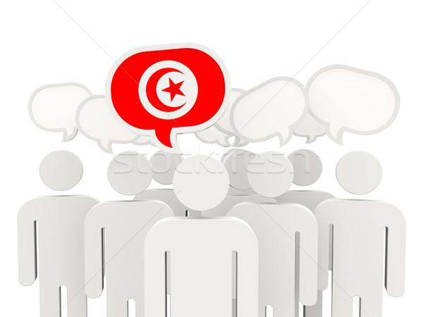 Insanlar bayrak Tunus yalıtılmış beyaz toplantı Stok fotoğraf © MikhailMishchenko