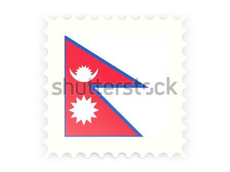 Kare ikon bayrak Nepal yansıma beyaz Stok fotoğraf © MikhailMishchenko