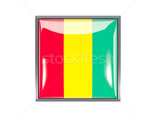 Praça ícone bandeira Guiné metal quadro Foto stock © MikhailMishchenko
