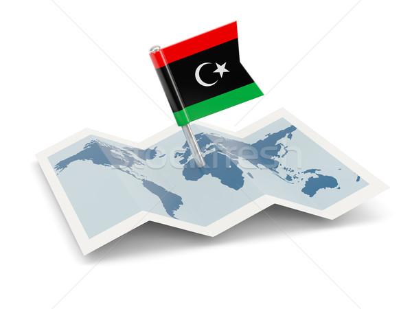 Pokaż banderą Libia odizolowany biały Zdjęcia stock © MikhailMishchenko