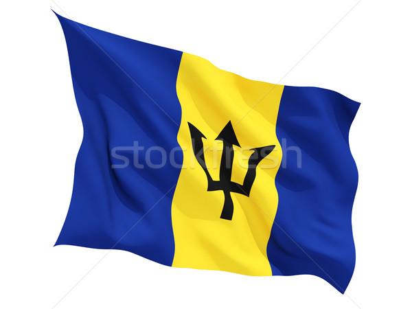 Bandeira Barbados isolado branco Foto stock © MikhailMishchenko
