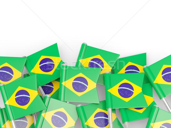 Banderą pin Brazylia odizolowany biały świat Zdjęcia stock © MikhailMishchenko