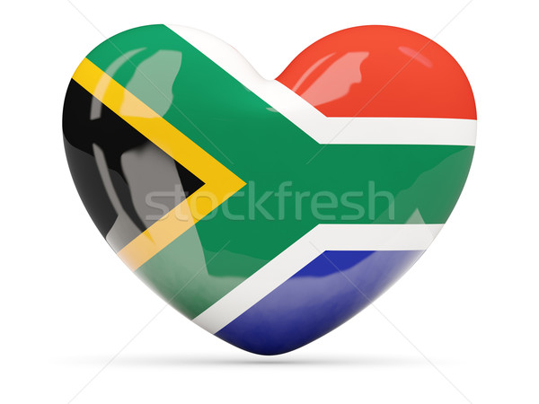 Heart shaped icon with flag of south africa Stock photo © MikhailMishchenko