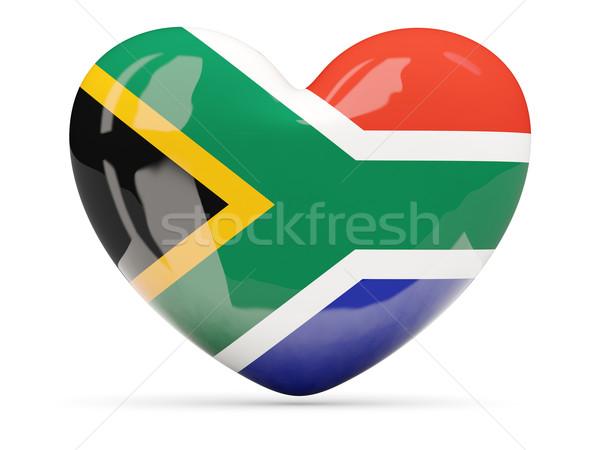 Coeur icône pavillon Afrique du Sud isolé Photo stock © MikhailMishchenko