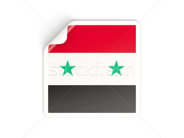 Praça adesivo bandeira Síria isolado branco Foto stock © MikhailMishchenko
