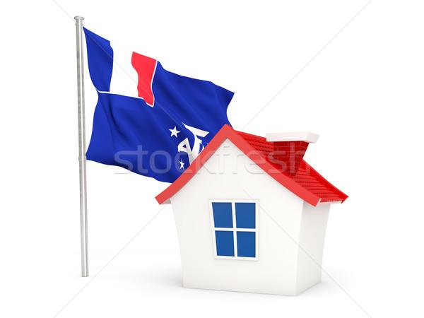 Casa bandera francés meridional aislado blanco Foto stock © MikhailMishchenko