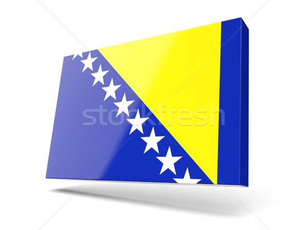 Foto stock: Cuadrados · icono · bandera · Bosnia · Herzegovina · aislado · blanco