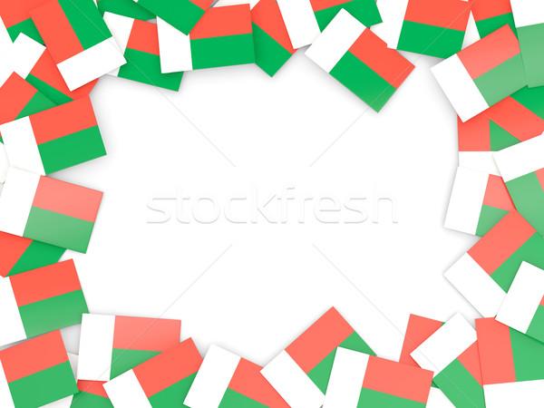 Keret zászló Madagaszkár izolált fehér Stock fotó © MikhailMishchenko