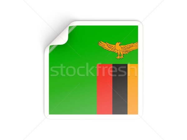 Stock fotó: Tér · matrica · zászló · Zambia · izolált · fehér