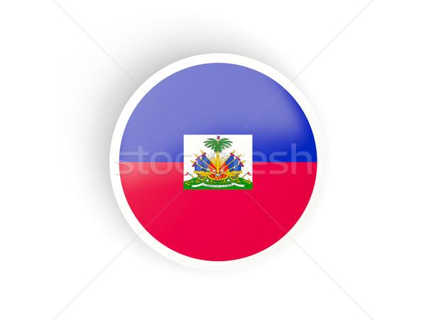 Adesivo bandiera Haiti isolato bianco viaggio Foto d'archivio © MikhailMishchenko
